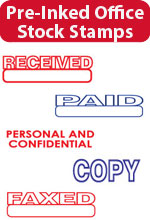 Pre-Inked Stock Stamps - Copy, Faxed, Paid, Rush, a full line of stock title stamps.  Essential to your office or mailroom.